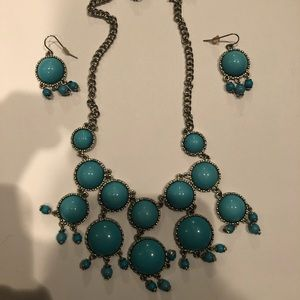 Jewelry: Blue Statement Earrings and Necklace Set